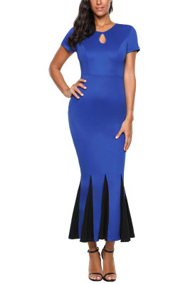 Blue Short Sleeve Mermaid Long Bodycon Dress