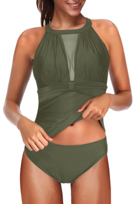 Green High Neck Plunge Mesh Ruched Tankini Swimwear