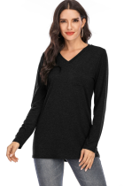Black V-neck Solid Top with Pocket