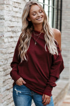 Red Ribbed Zip Knit Top