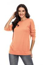 Orange Solid Side Split T-shirt