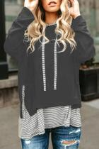 Gray Striped Stitching Long Sleeve Hoodie
