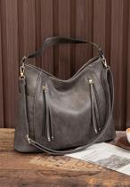 Grey Solid Large Capacity Tote Bag