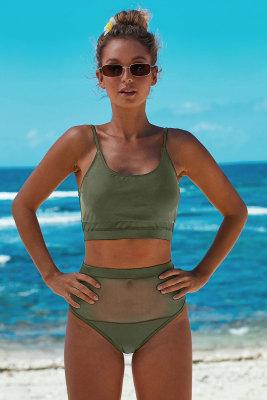 Army Green The Weekend Two-piece Mesh Patchwork Bikini