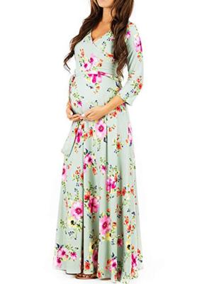Light Green Floral Print Maxi Maternity Dress