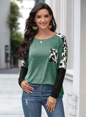 Green Long Sleeve Leopard Splicing Sleeve T-shirt