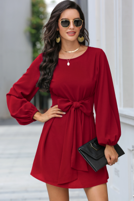 Wine Red Solid Mini Dress with Belt
