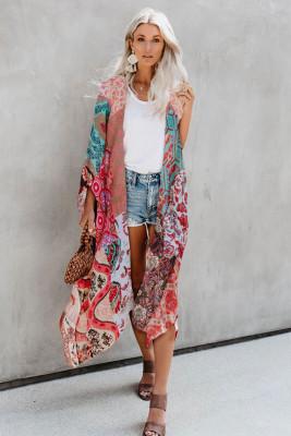 Multicolor Bohemian Floral Print Kimono