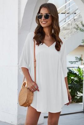 White Half Sleeve Solid Beach Mini Dress