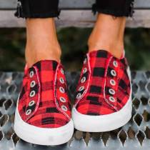Red Plaid Canvas Shoes