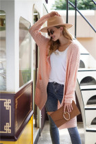Pink Long Loose Style Cardigan With Pockets