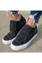 Black Canvas Shoes with Zipper