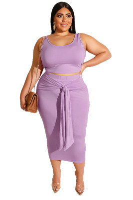 Purple Solid Color Casual Outfits Bodycon Plus Size Two Piece Set