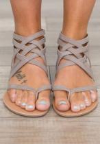 Grey Strappy Flat Sandal