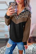 Leopard Print Splicing Colorblock Zipped Collar Sweatshirt