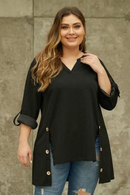 Black V Neck Tab Roll up Sleeve Slits Plus Size Top