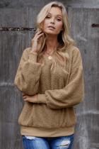 Khaki Terry Thread Cashmere Sweathshirt