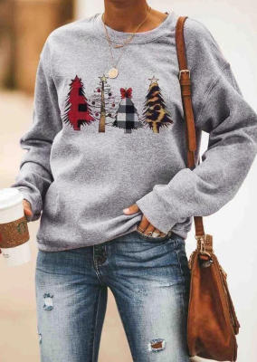 Grey Leopard Christmas Tree Pullover