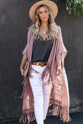 Pink Travel The World Tassel Kimono