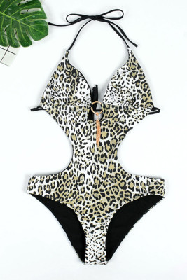 Leopard Printed Halter Hollow Out Monokini