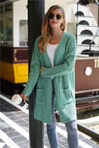 Green Long Loose Style Cardigan With Pockets
