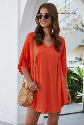 Orange Half Sleeve Solid Beach Mini Dress