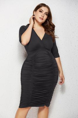 Black V Neck Ruffled Plus Size Bodycon Dress