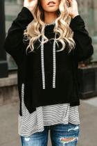 Black Striped Stitching Long Sleeve Hoodie