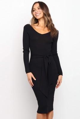 Sexy Knit V Neck Dresses with Belt