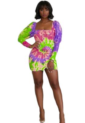 Tie Dye Print Women Button Dress