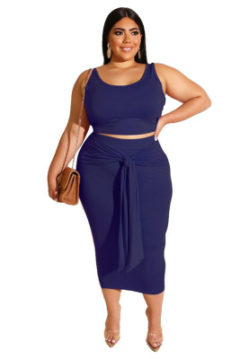 Dark Blue Solid Color Casual Outfits Bodycon Plus Size Two Piece Set