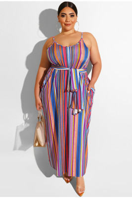 Women Sleeveless Stripe Design Plus Size Dress