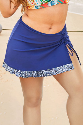 Blue Printed Hemline Plus Size Swim Skirt with Slit