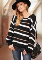 Striped Knit Loose Sweater