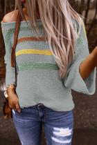 Multicolor Stripes Print Gray Knit Top
