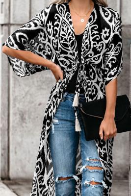 Black Printed Duster Kimono