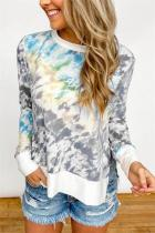 Grey Gradient Tie Dye Plus Size T-shirt