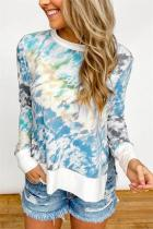 Blue Gradient Tie Dye Plus Size T-shirt