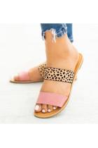 Pink Leopard Print Flat Slippers