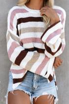 Pink Loose Stripe Sweater