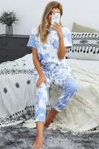 Blue Tie-dye T-shirt Pants PJ Set
