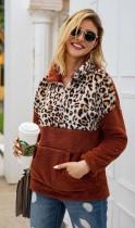 Orange Leopard Contrast Zip High Neck Fleece Sweatshirt
