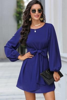 Blue Solid Mini Dress with Belt