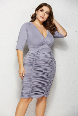 Grey V Neck Ruffled Plus Size Bodycon Dress
