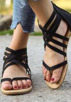 Black Strappy Flat Sandal