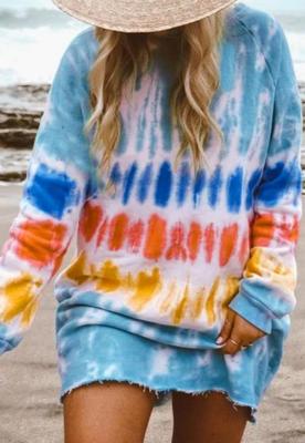 Multi-colored Tie Dye Pullover Sweatshirt Dress