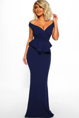 Blue Cross Over Peplum Maxi Dress