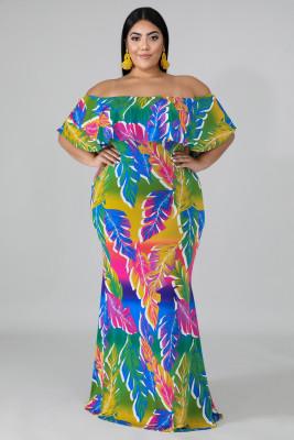 Plus Size Tropical Palms Mermaid Dress