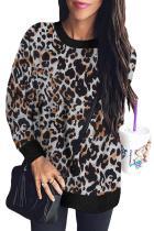 White Leopard Print Long Sleeve Pullover Sweatshirt
