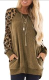 Brown Leopard Sleeve Pullover with Side Pockets